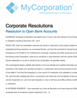 Board resolution of the company to open account in the bank